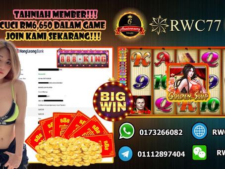 恭喜RWC77 幸运的会员在888KING赢得 RM6,650! 快来加入我们的公司吧 丰富的奖金等你来赢取!!!