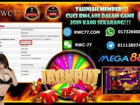 Tahniah member dapat cuci RM4,600 dalam MEGA888!!! RANDOM JACKPOT MEMBER DAPAT!! Claim 7 FREE SPIN!!