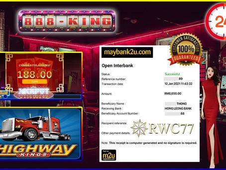 Tahniah member cuci RM6,650 dalam 888KING!!! Join kami dengan min deposit RM30!!!