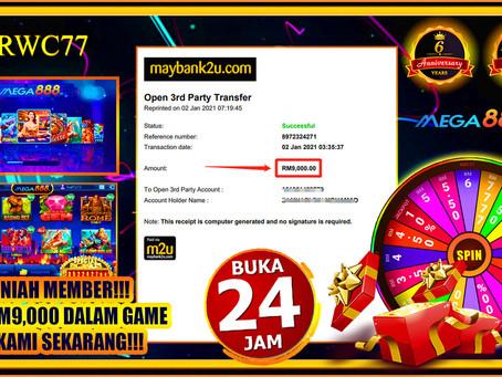 Tahniah member cuci RM9,000 dalam MEGA888!!! JOIN KAMI SEKARANG!!!