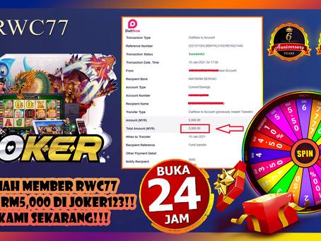 Congratulation Member Get RM5,000 dalam JOKER123!!!! Join Kami Dengan Min deposit RM30!!!!