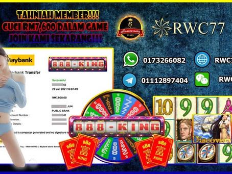 Tahniah member dapat cuci RM7,600 dalam 888KING!!! GAME YANG TERBARU DAN TERHERBAT!!!