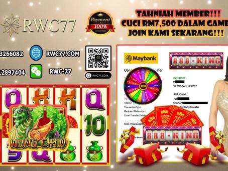 Tahniah member cuci RM7,500 dalam 888KING!!! Join Kami Sekarang cuba game yang terbaru dan terhangat