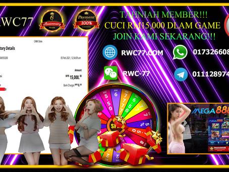 恭喜RWC77 会员在 MEGA888 提款 RM15,000!! 快来加入我们赢得更多的奖金!!