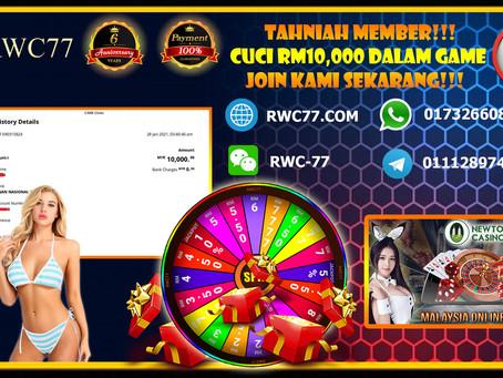 恭喜RWC77 会员成功在NEWTOWN 提款RM10,000!快来加入你们心中值得信赖的公司!!