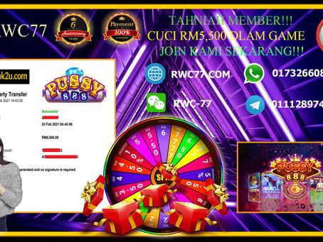 Congratulation RWC77 member get withdraw RM5,500 dalam game PUSSY888!!!