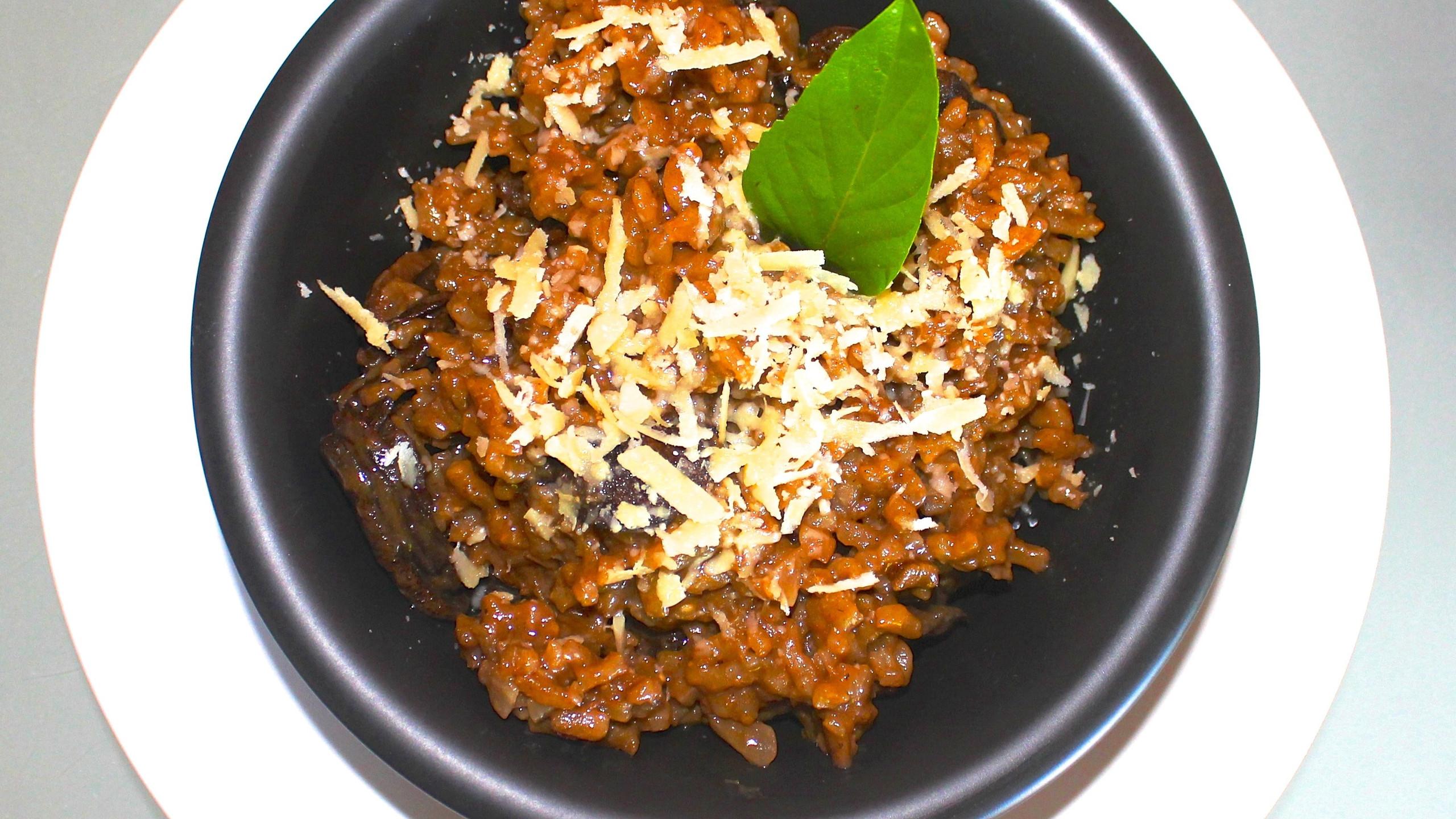Risotto de champignons noirs et parmesan