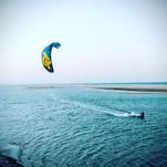 Kitesurfing on unspoiled spot