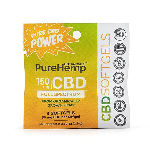 PHB Softgels Sachet 150 mg CBD (3-count, 50mg softgels)