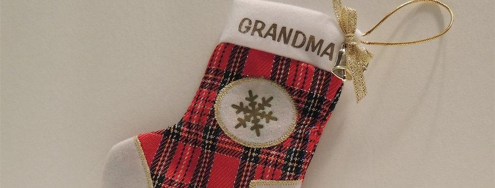 Christmas Ornament - Grandmas's red plaid stocking