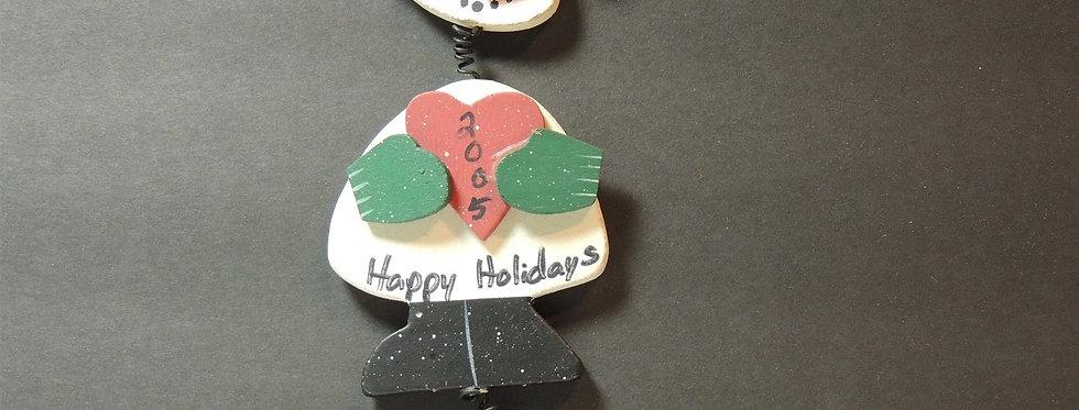 Christmas Ornament - handmade Wooden Clothespin Snowman 2005