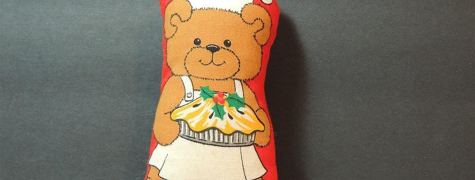 Christmas Ornament - Handmade Fabric Teddy Bear Baking