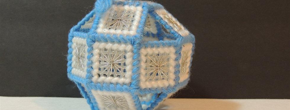 Christmas Ornament - Handmade Plastic Canvas Sphere