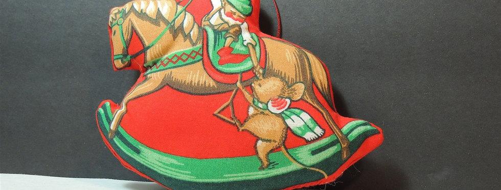 Christmas Ornament - Handmade Fabric Elf on Rocking Horse