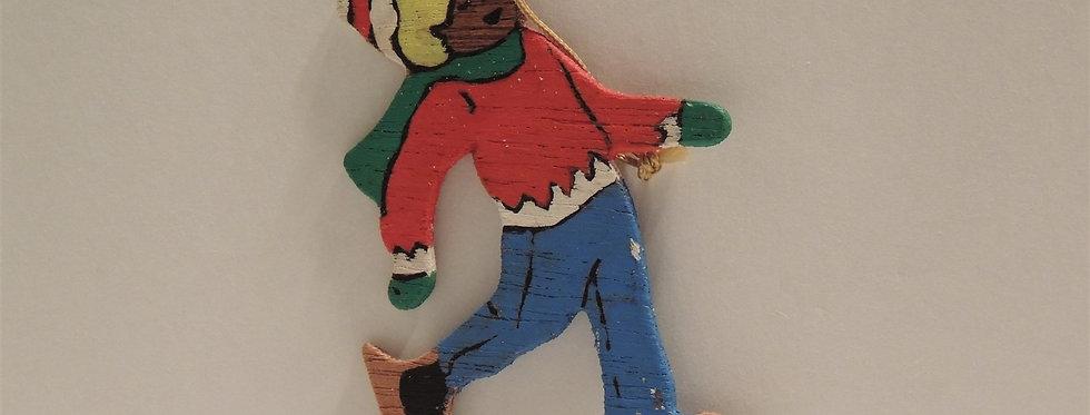 Christmas Ornament - Vintage Hand painted Wood - Boy Skates