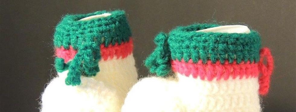 Christmas Ornament - White Crochet Christmas booties