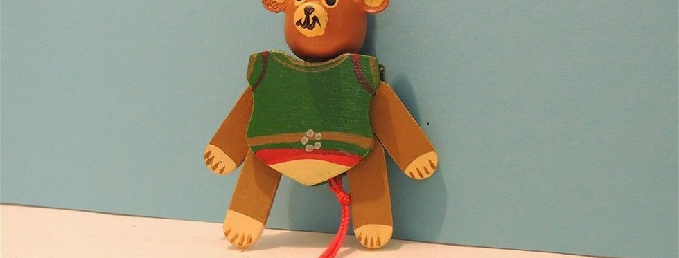 Christmas Ornament - Vintage Wooden Teddy Bear Puppet