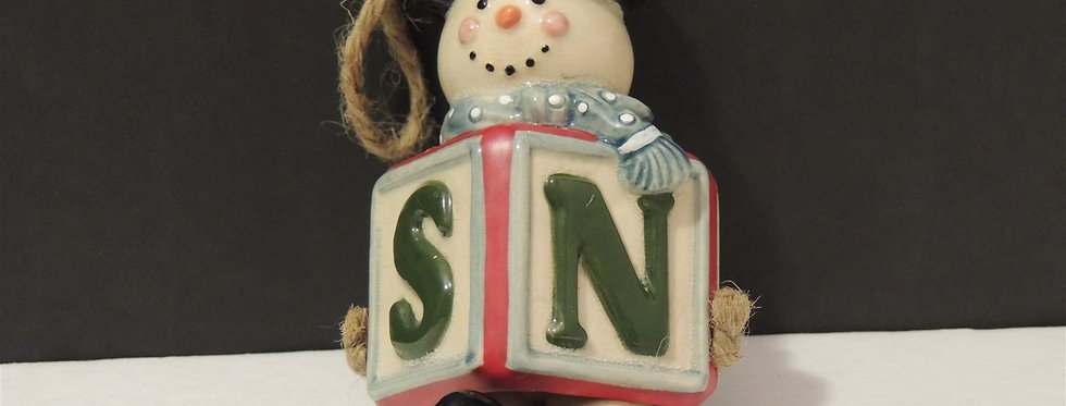 Christmas Ornament - Dangling Block Snowman
