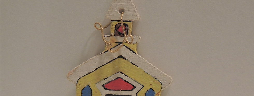 Christmas Ornament - Vintage Hand painted Wooden - Church