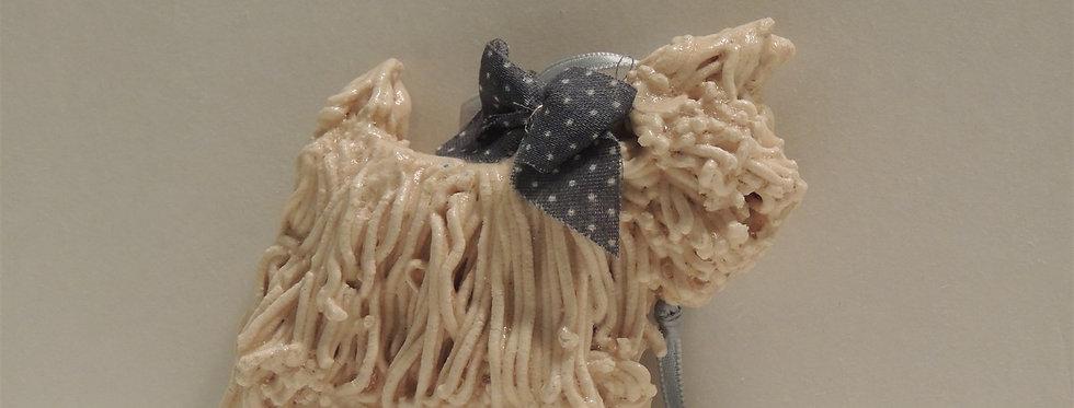 Christmas Ornament - Handmade Maltese dog Dough