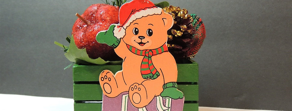 Christmas Decoration - Wooden Teddy Bear Basket