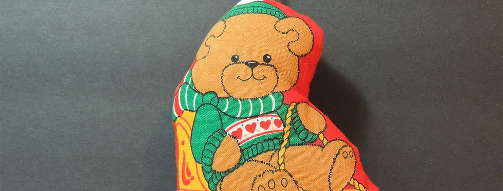 Christmas Ornament - Handmade Fabric Teddy Bear on Sleigh