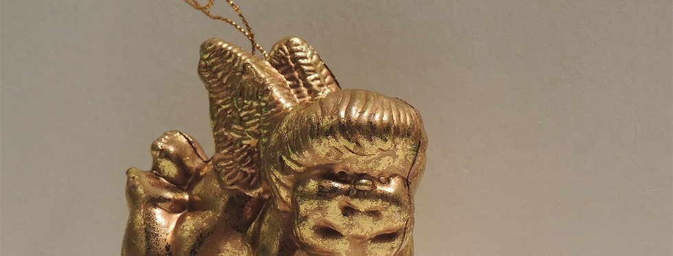 Christmas Ornament - Vintage Plastic Golden Cherub