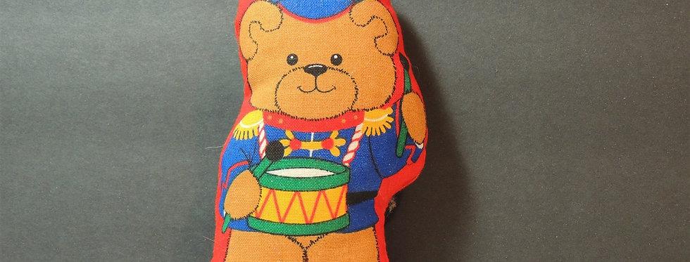Christmas Ornament - Handmade Fabric Teddy Bear Drummer