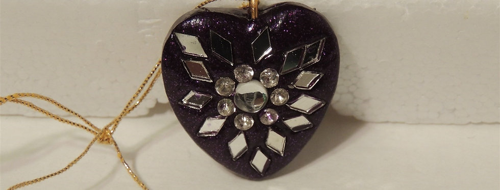 Christmas Ornament - Small Purple Heart inlaid with Mirrors