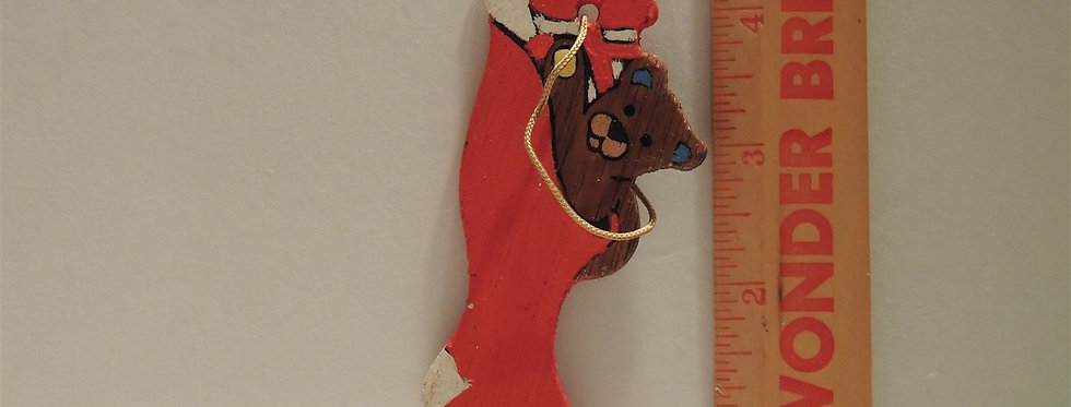 Christmas Ornament - Vintage Hand painted Wood - Stocking