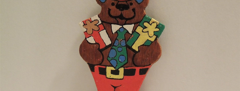Christmas Ornament - Vintage Hand painted Wood - Bear in Hat