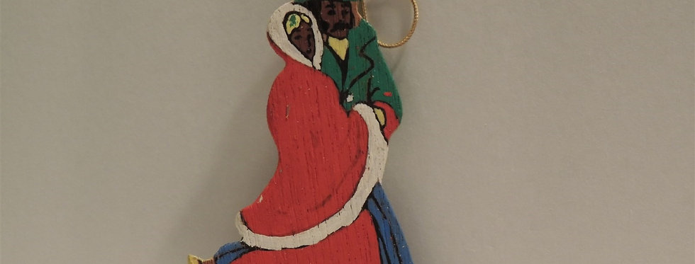 Christmas Ornament - Vintage Hand painted Wood - Skaters
