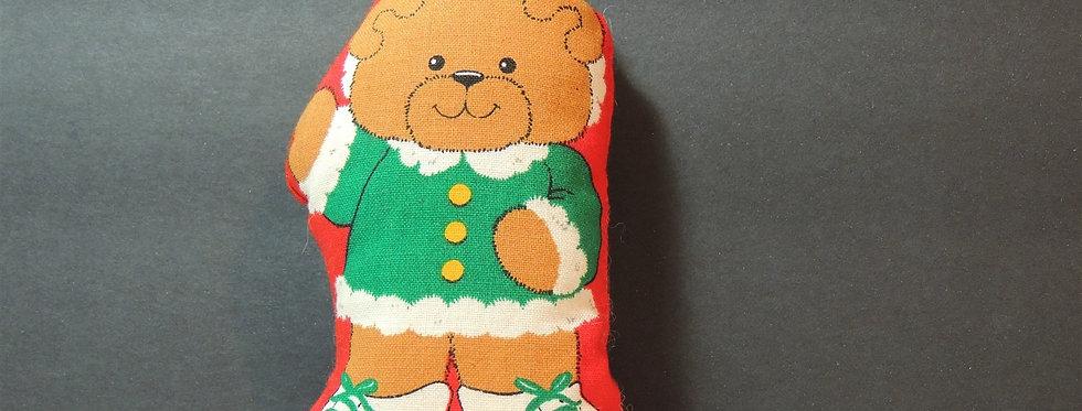 Christmas Ornament - Handmade Fabric Girl Bear Skating