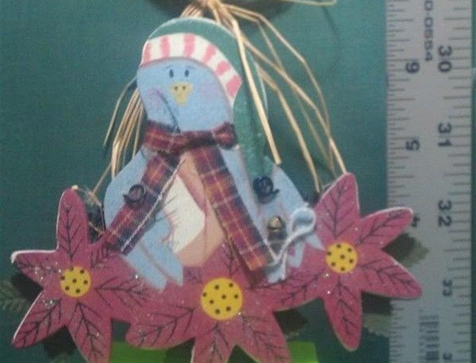 Christmas Ornament - Blue Bird with three flowers