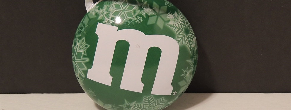 Christmas Ornament - Green m&m's container
