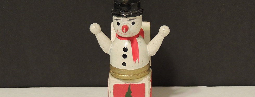 Christmas Ornament - Wooden Snowman Jack-in-the-box