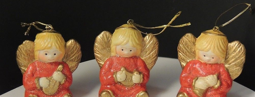 Christmas Ornament - 3 Vintage Ceramic Hand painted angels