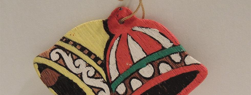 Christmas Ornament - Vintage Hand painted Wood - Bells