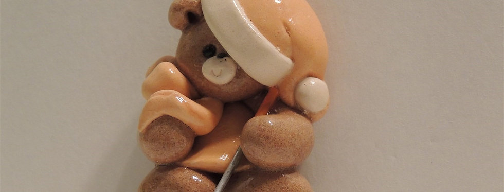 Christmas Ornament - Handmade Teddy Bear Golf Club Dough