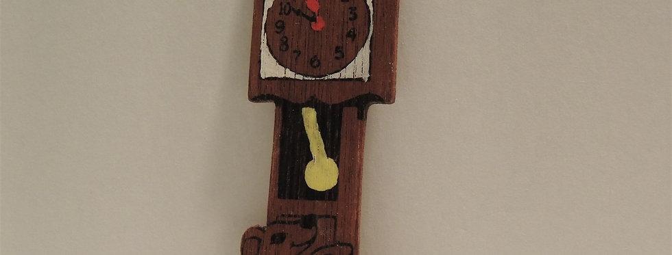 Christmas Ornament - Vintage Hand painted Wood - Clock