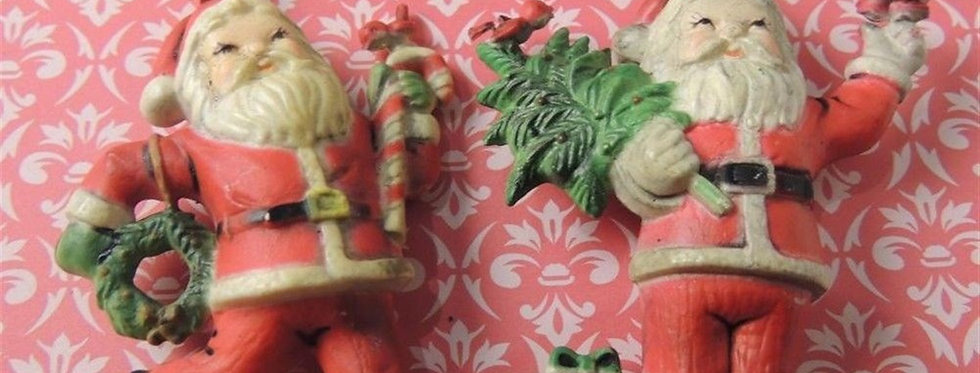 Christmas Ornament - 2 Vintage Santas