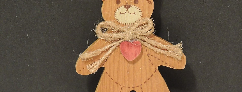 Christmas Ornament - Hand Carved Wooden Teddy Bear