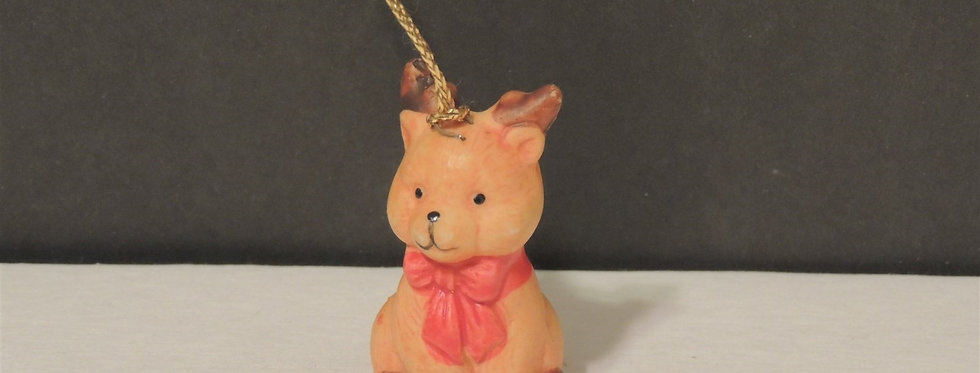 Christmas Ornament - Baby reindeer with red bow
