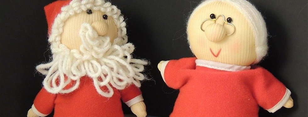 Christmas Ornament - Cute plush Handmade Mr & MS Santa