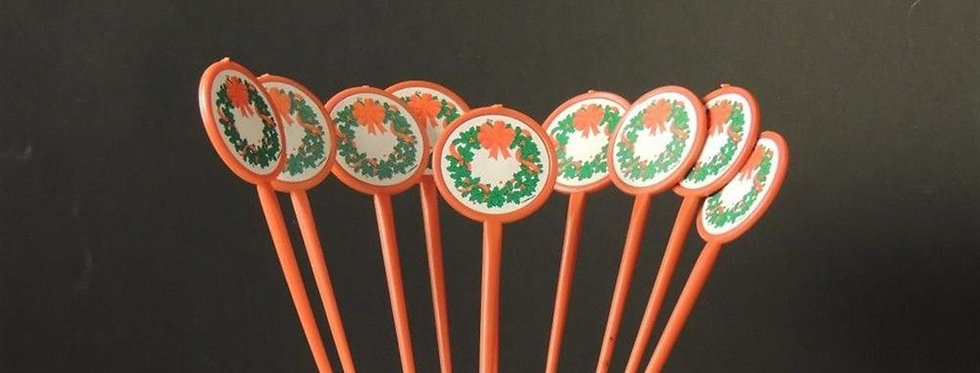 Christmas Decoration - 9 Vintage Collectible Cupcake sticks