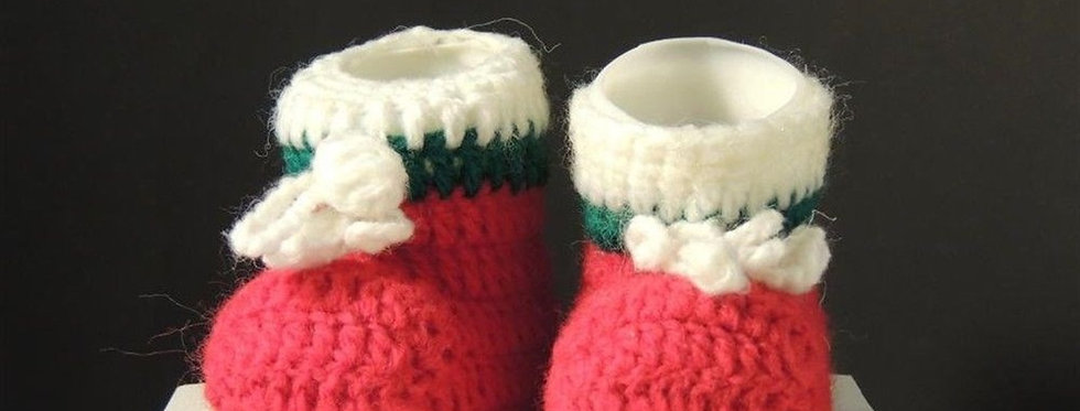Christmas Ornament - Red Crochet Christmas booties