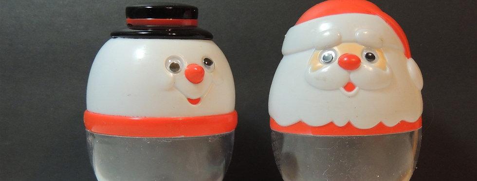 Christmas Decoration - Vintage plastic Santa & Snowman jars