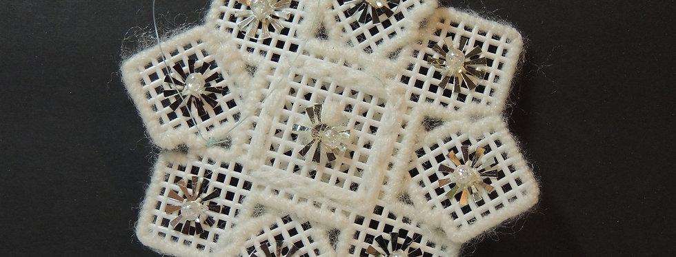 Christmas Ornament - Handmade Plastic Canvas Bead Snowflake