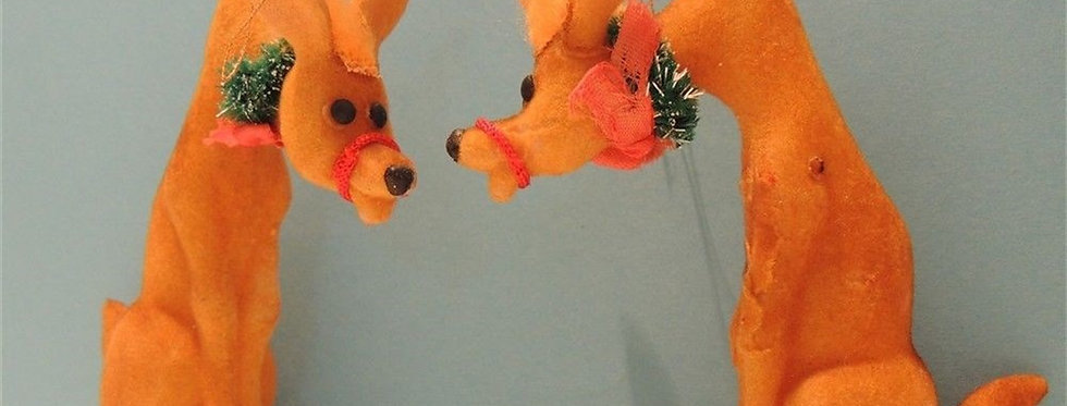 Christmas Discount - 2 Vintage flocked Reindeer Ornaments