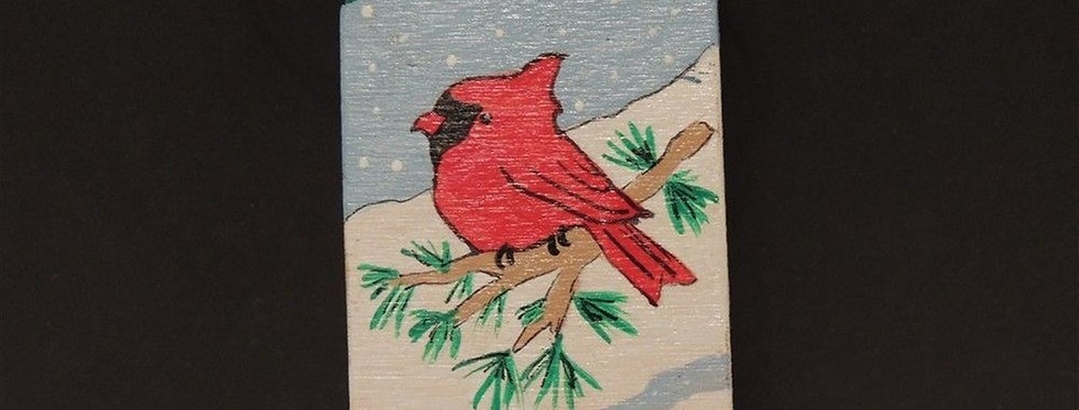 Christmas Ornament - Hand painted - Cardinal